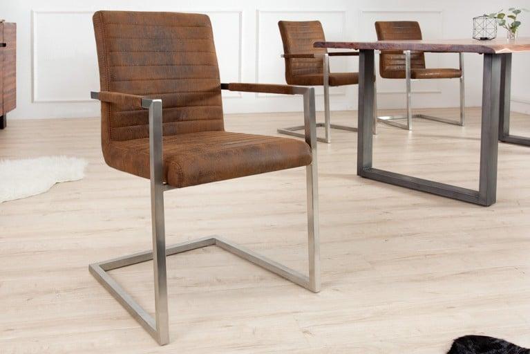 Freischwinger Stuhl IMPERIAL Vintage braun mit gepolsterten Armlehnen und Edelstahlgestell