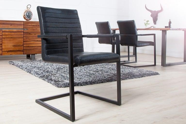 Freischwinger Stuhl IMPERIAL antik schwarz mit Armlehne Schwingerstuhl