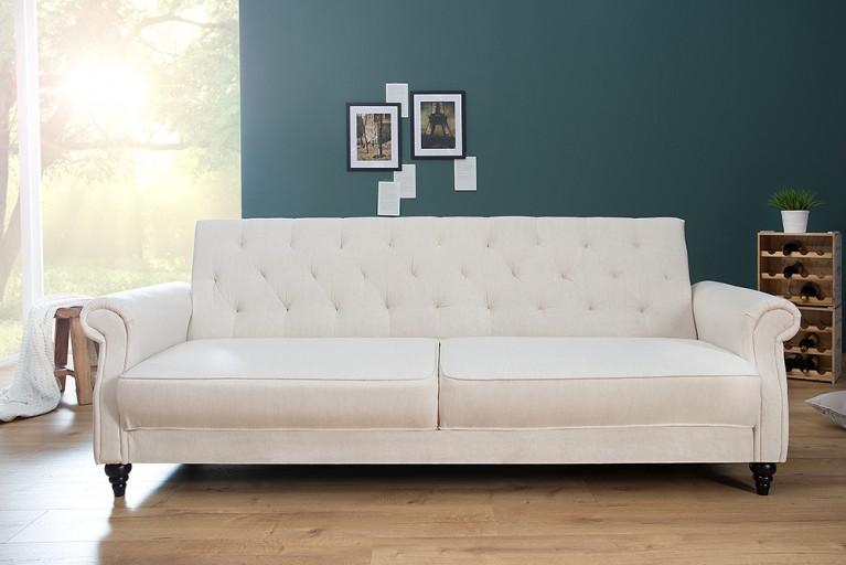 Design Sofa MAISON BELLE AFFAIRE 220cm creme mit Schlaffunktion