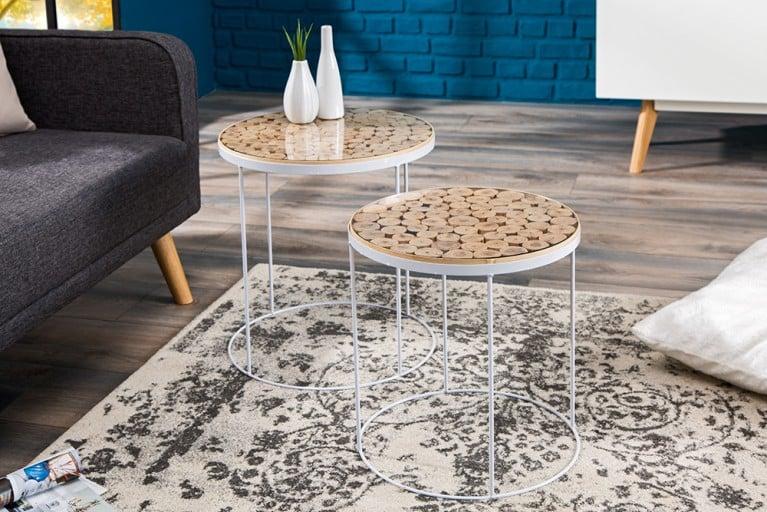 Design Beistelltisch PURE NATURE MIX  40 cm Massivholz weißes Metallgestell mit Glasplatte