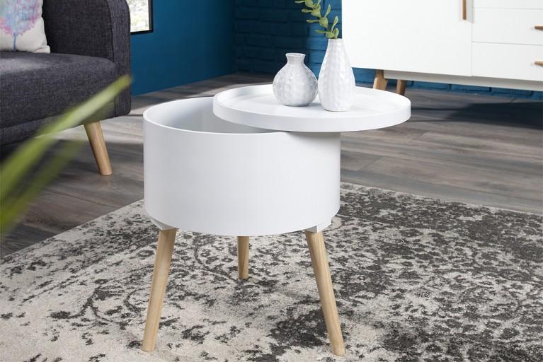 Design Beistelltisch MULTI TALENT rund mit abnehmbarem Deckel weiß 45 cm