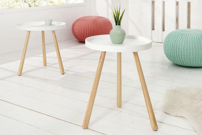 Design Retro Beistelltisch SCANDINAVIA in edelmatt weiß runde Tischplatte 45 cm