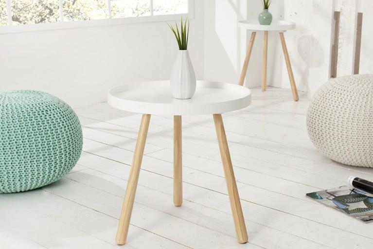 Design Retro Beistelltisch SCANDINAVIA edelmatt weiß runde Tischplatte 40 cm