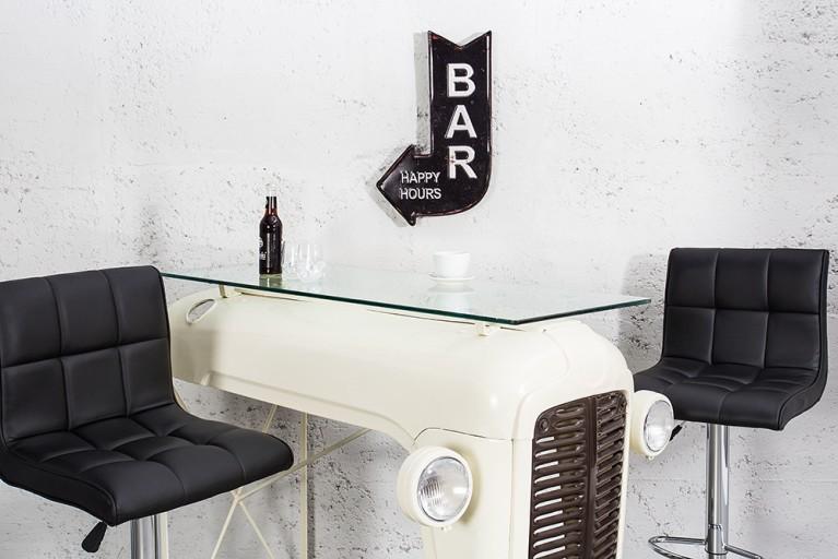 Stylisches Metall Schild BAR HAPPY HOURS 40 cm schwarz links Retro-Look