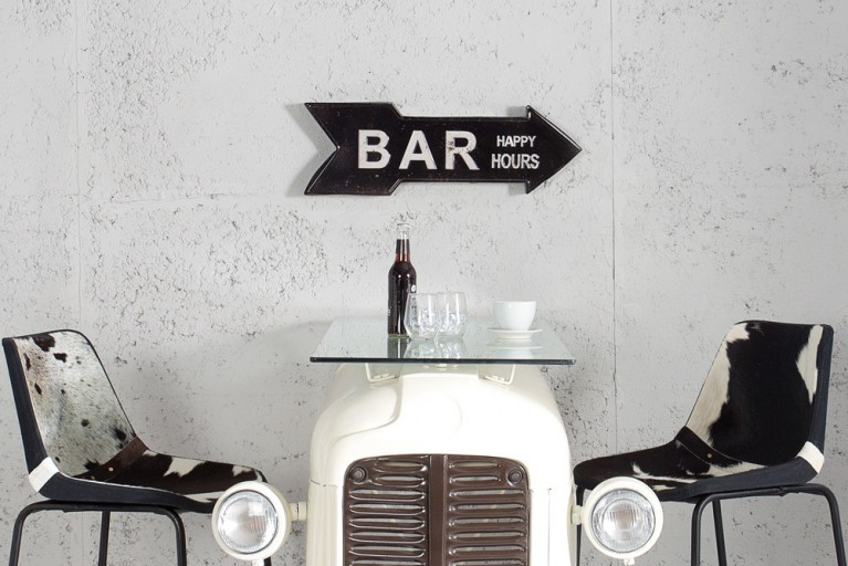 Stylisches Metall Schild BAR HAPPY HOURS 55 cm schwarz rechts Retro-Look