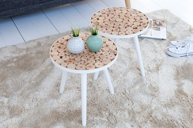 Handgearbeiteter Beistelltisch PURE NATURE MIX 40 cm mit  Massivholz Mosaik