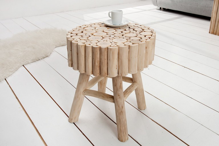 Massiver Holzhocker PURE NATURE 40cm Beistelltisch aus Massivholz