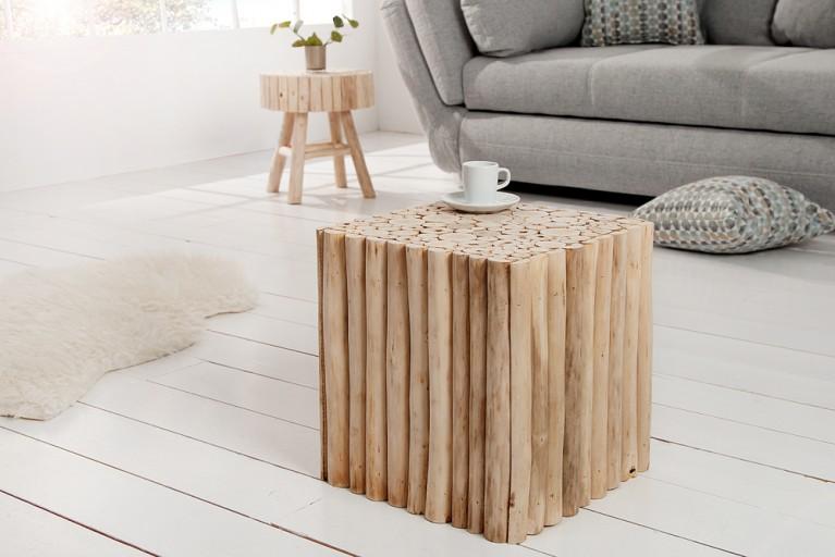 Design Hocker PURE NATURE 40cm, Beistelltisch aus Massivholz, Couchtisch