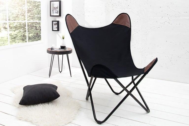 Designklassiker Lounge Sessel BUTTERFLY schwarz aus hochwertigem Canvas Leinenstoff