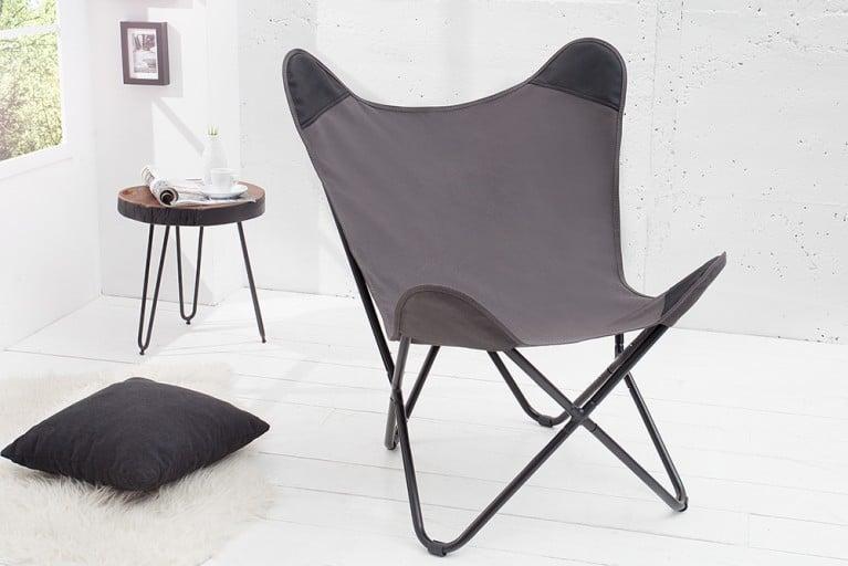 Designklassiker Lounge Sessel BUTTERFLY grau aus hochwertigem  Canvas Leinenstoff