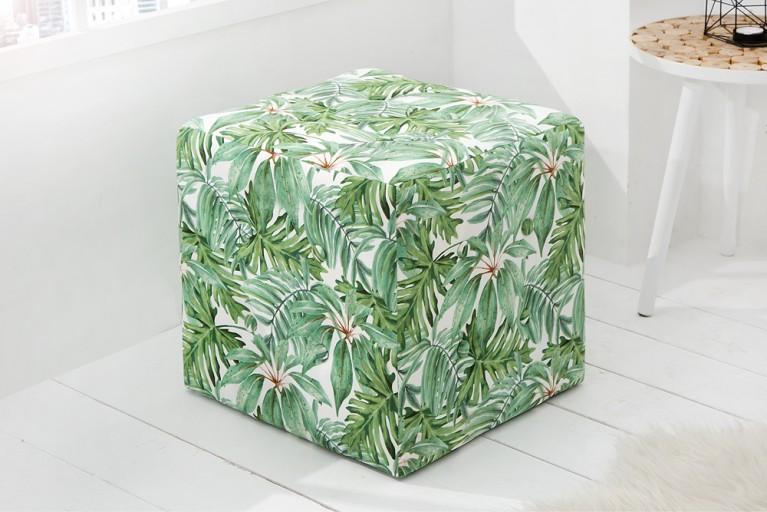 Design Sitzhocker PARADISE mehrfarbig florales Botanik Muster Hocker