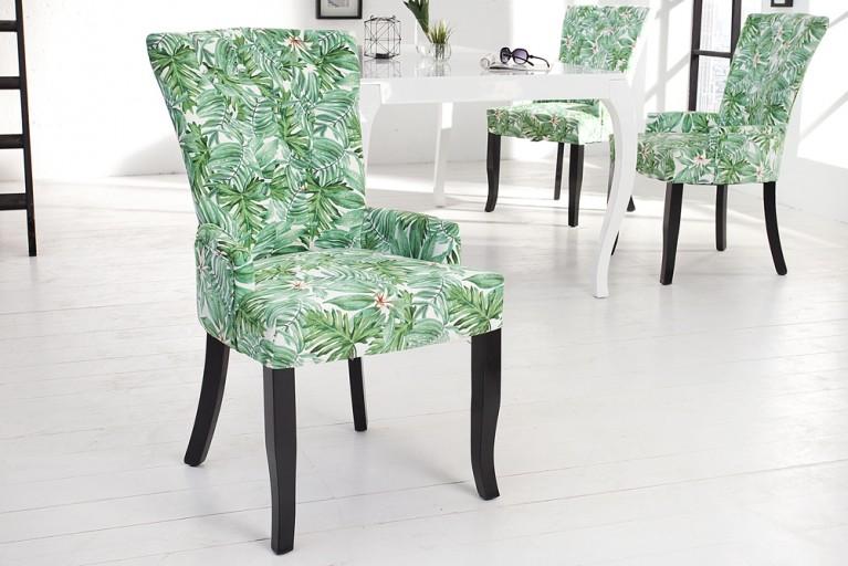 Design Stuhl PARADIES mehrfarbig florales Botanik Muster Armlehnenstuhl