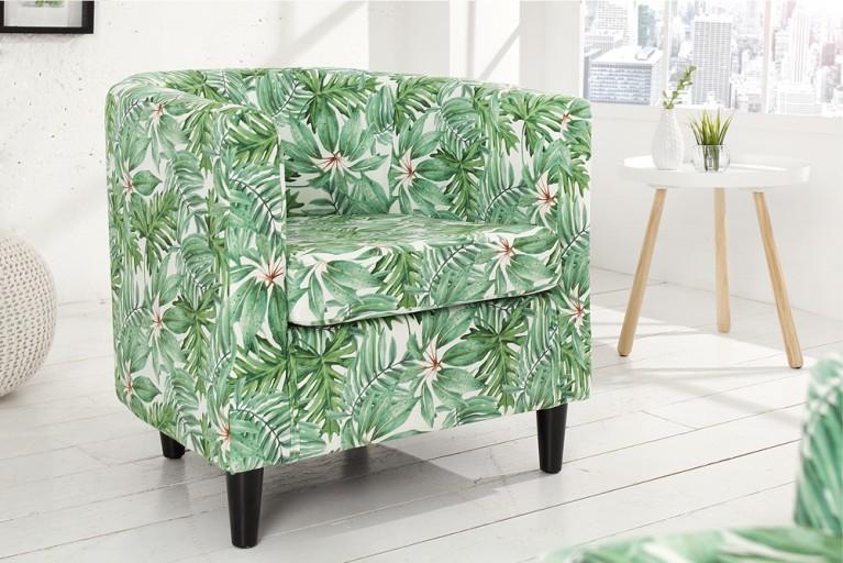 Design Clubsessel PARADISE mehrfarbig florales Botanik Muster Sessel