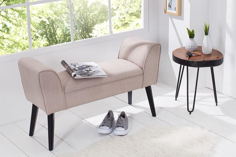 Elegante Sitzbank SCARLETT 90 cm sand Beine aus Massivholz gepolstert