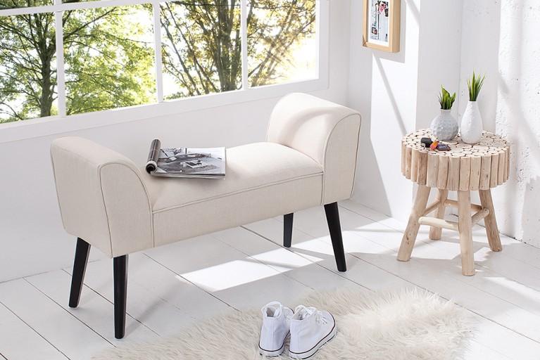 Stilvolle Sitzbank SCARLETT gepolstert creme mit Armlehnen und Massivholz-Beinen 90 cm