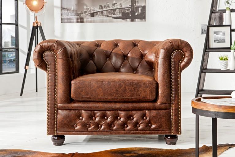 Hochwertiger Chesterfield Sessel vintage braun echtes Sattelleder