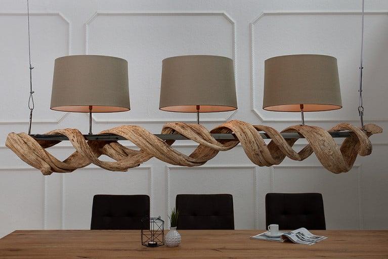 Design Hängeleuchte VIGNE 160cm aus recyceltem Massivholz mit Leinenschirm Handarbeit