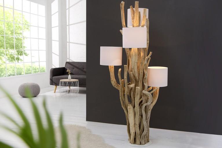 Exklusive Baumstamm Stehleuchte TREE OF LIFE 150cm mit weißen Leinen Schirmen