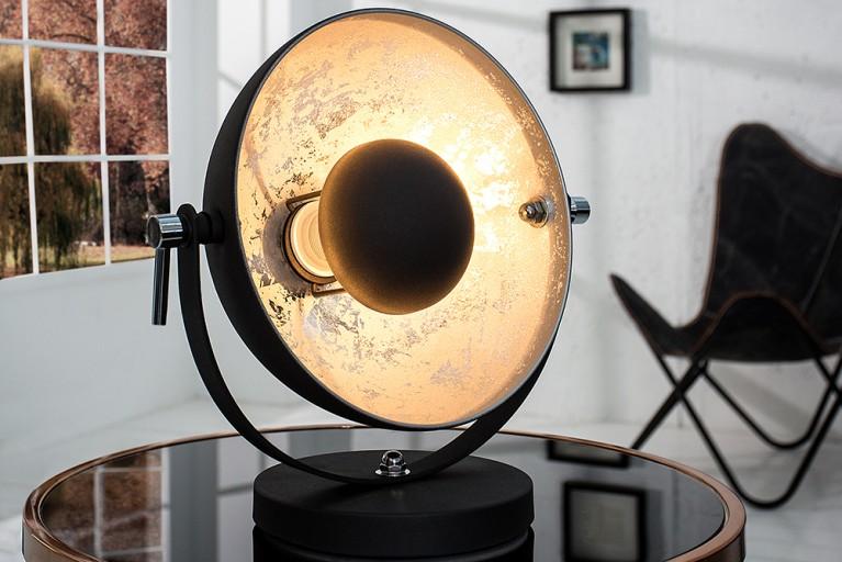 Moderne Tischlampe STUDIO 40 cm schwarz silber Lampe mit Blattsilber