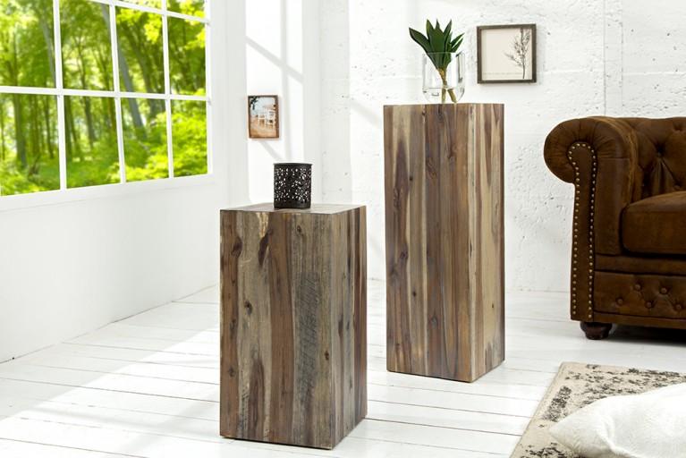 Hochwertige Treibholz Dekosäule COLUMNA 75cm vintage Beistelltisch