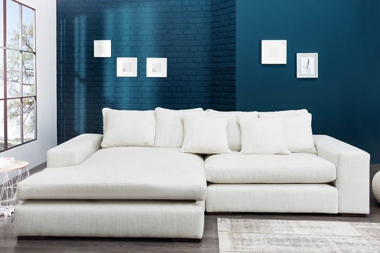 Komfortables Ecksofa MINO im modernen Landhausstil Leinen beige 275 x175 cm inkl. Kissen