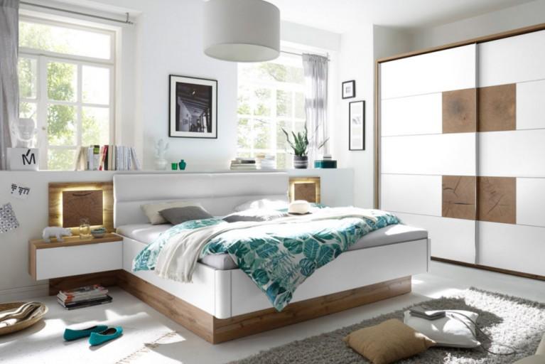 Design Doppelbett FOREST 180 x 200cm Wildeiche Weiß inkl. 2 Nachtkommoden