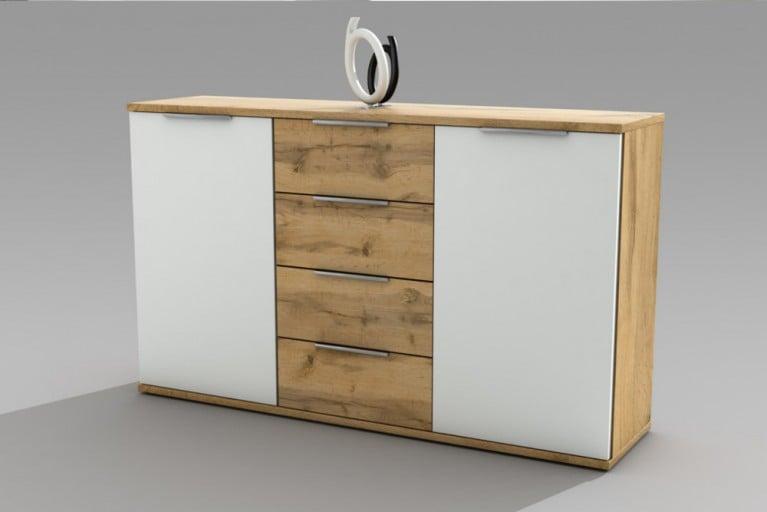 Design Kommode FOREST weiß Wild Eiche 150cm Sideboard im Two-Tone-Look