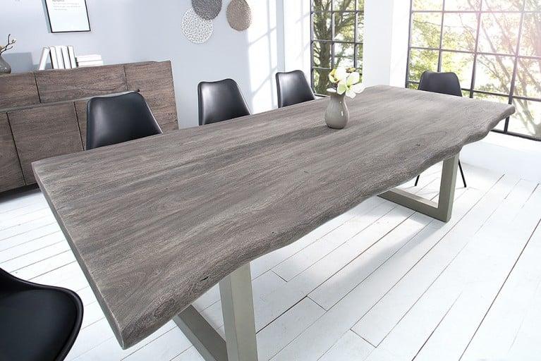 Massiver Baumstamm Tisch MAMMUT 200cm grau Akazie Massivholz Industrial Chic Kufengestell mit 5,5 cm dicker Tischplatte