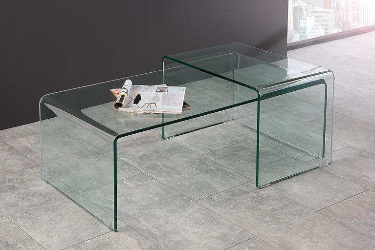 Hochwertiges 2er Set Glas Couchtisch GHOST transparent