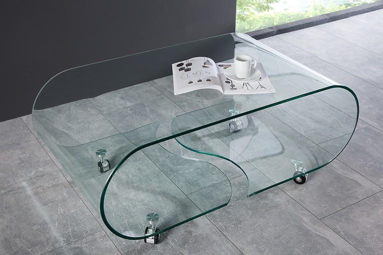 Extravaganter Glas Couchtisch GHOST 90cm transparent