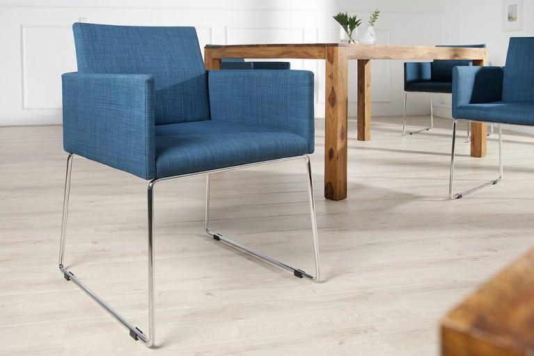 Eleganter Design Stuhl LIVORNO Strukturstoff blau mit Armlehnen