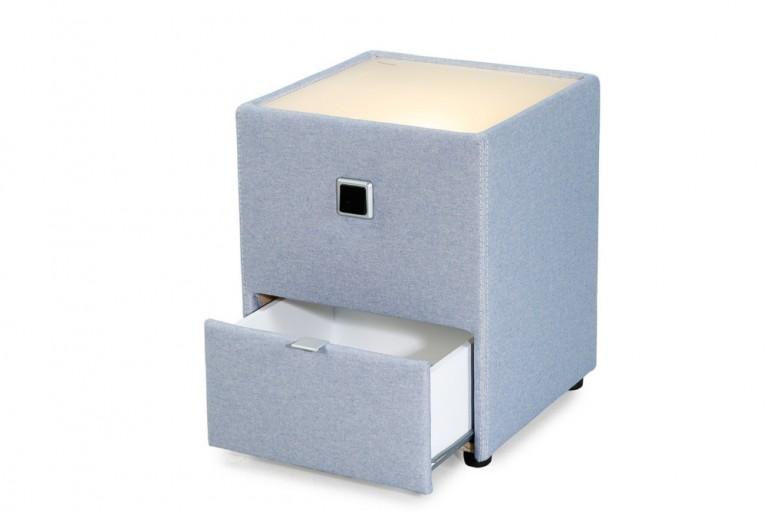 Design Nachtkommode RIVIERA für Boxspringbetten blau mit indirekter Beleuchtung