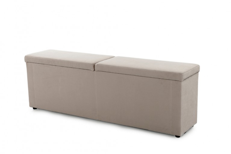 Design Hockerbank PRIMAVERA hellbraun 180 cm für Boxspringbett Microfaser