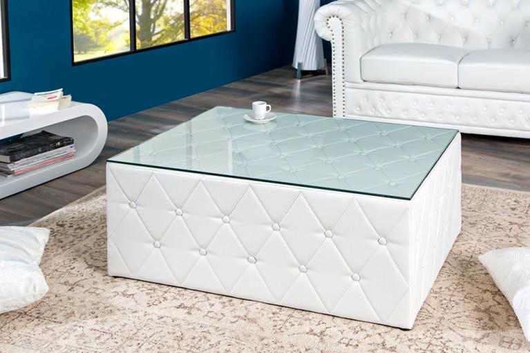 Design Chesterfield Couchtisch 100 cm weiß matt mit Glasplatte