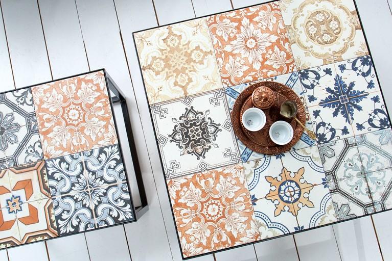 Design Beistelltisch MARRAKESCH 60 cm mit echten orientalischen Keramik-Fliesen