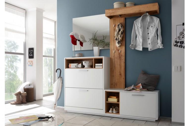 Moderne Design Garderobe QUÈBEC weiss Edelmatt abgesetzt Wild Eiche natur