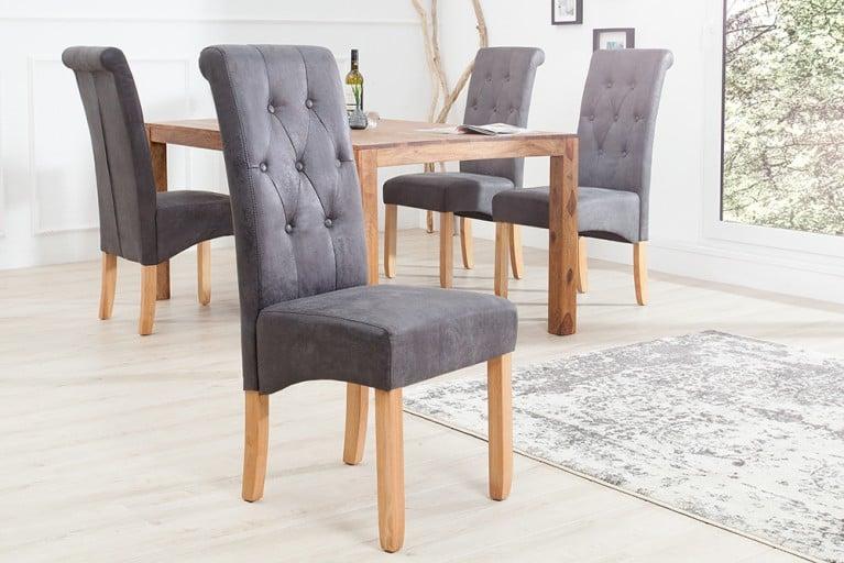 Edler Kolonial Stuhl VALENTINO mit Nackenrolle grau Vintage Look mit Zierknöpfen Massivholzbeine Eiche