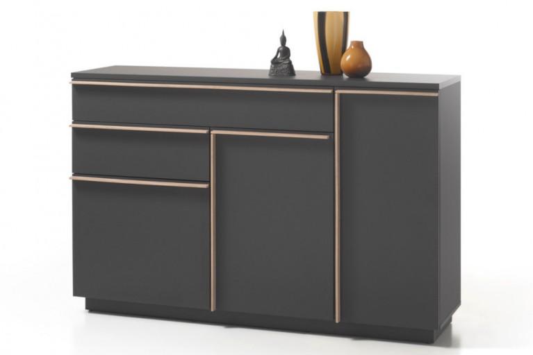 Modernes Design Sideboard MIKADO 150cm graphit edelmatt abgesetzte Griffleisten in Eiche Sonoma