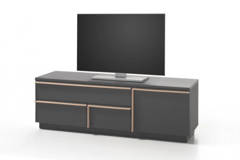 Modernes Design Lowboard MIKADO 140cm graphit edelmatt abgesetzte Griffleisten in Eiche Sonoma