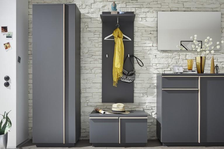 Moderner Design Garderobenschrank MIKADO 200cm graphit edelmatt abgesetzte Griffleisten in Eiche Sonoma