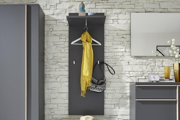 Modernes Design Garderobenpaneel MIKADO 140cm graphit edelmatt mit Kleiderstange