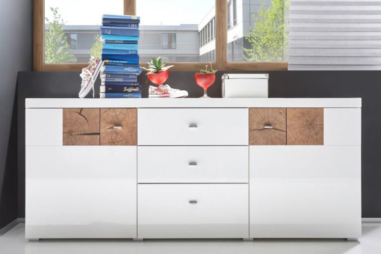 Modernes Design Sideboard MODERN NATURE 180cm Hochglanz weiß Stirnholz Natur-Applikationen