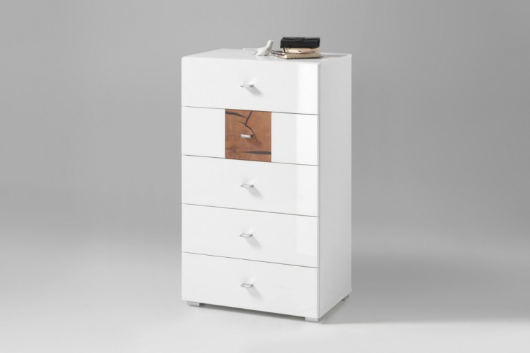 Moderne Design Kommode MODERN NATURE 60cm Hochglanz weiß Stirnholz Natur-Applikationen