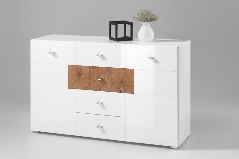 Modernes Design Sideboard MODERN NATURE 135cm Hochglanz weiß Stirnholz Natur-Applikationen