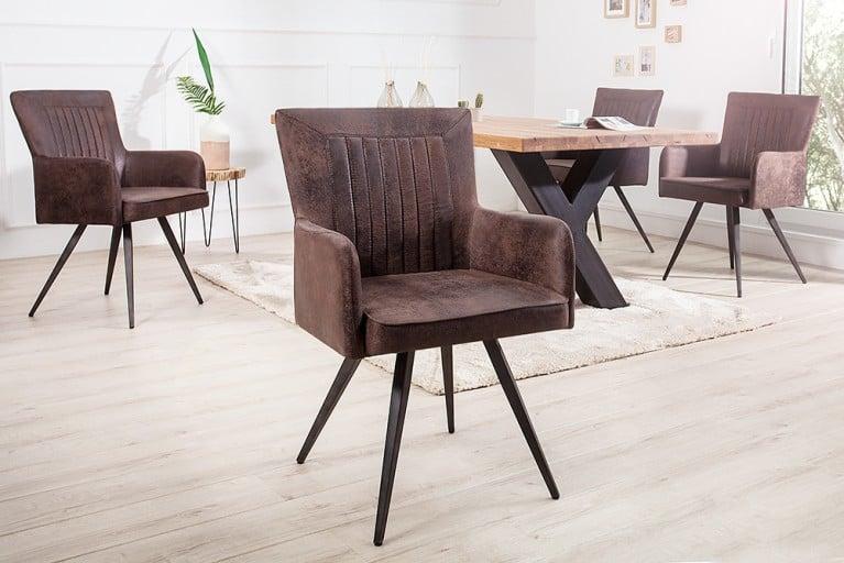 Hochwertiger Design Stuhl ROADSTER Retro antik braun Sattel-Optik