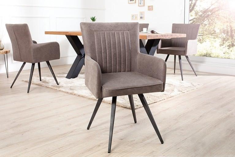 Hochwertiger Design Stuhl ROADSTER Retro antik grau taupe Sattel-Optik