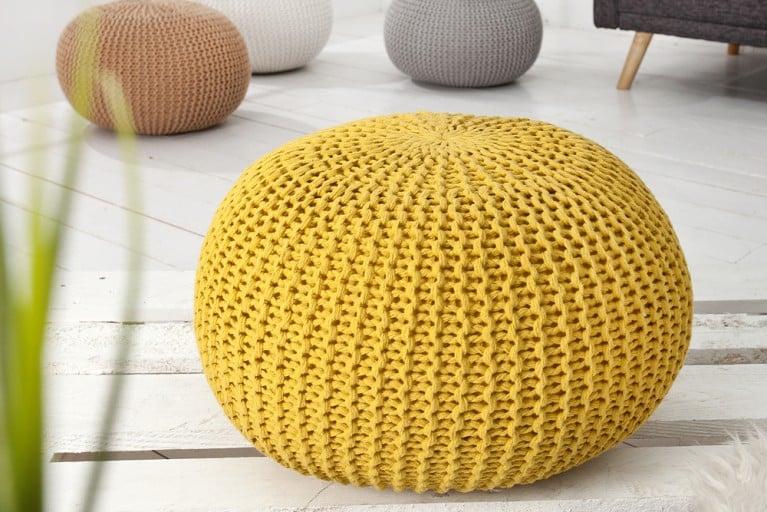 Design Strick Pouf LEEDS gelb 50cm Hocker Baumwolle in Handarbeit Sitzkissen