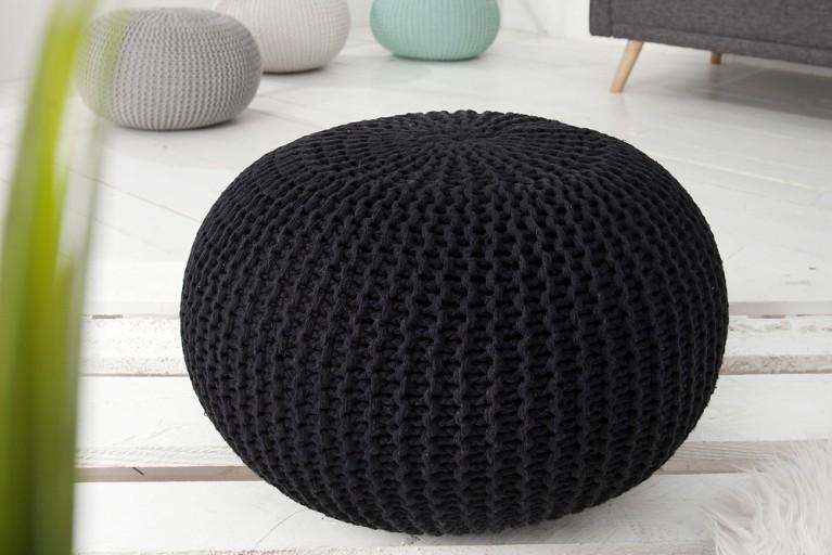 Design Strick Pouf LEEDS schwarz 50cm Hocker Baumwolle in Handarbeit Sitzkissen