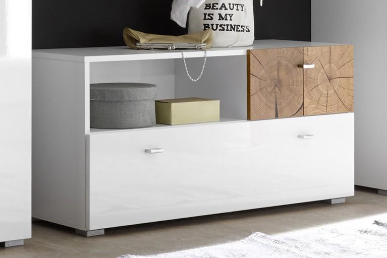 Moderne Garderobenbank MODERN NATURE 95cm Hochglanz weiß Stirnholz Natur-Applikationen