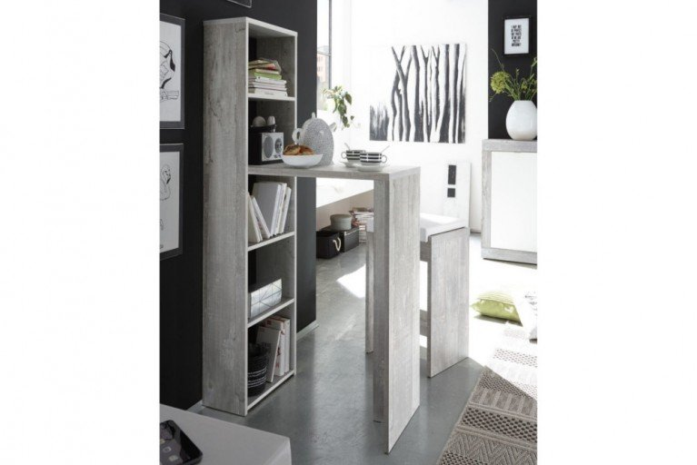 Moderner Design Bartisch CEMENT WOOD inkl. Regalfunktion Moor Eiche finish